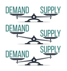 Demand and supply balance on scale set vector