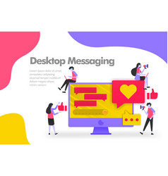 desktop messaging concept send and receive vector image