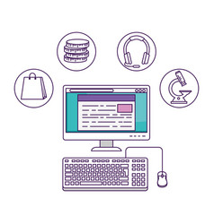 Desktop with elearning icons vector