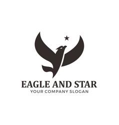 eagle falcon bird logo design with star vector image