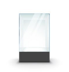 empty glass showcase on pedestal museum glass box vector image