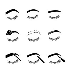 Eyebrows shaping glyph icons set vector