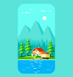 family cottage house in forest flat design vector image