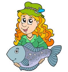 Fisherwoman holding big fish vector