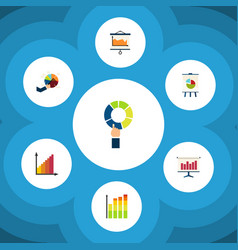 Flat icon graph set of easel monitoring vector