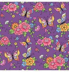 floral pattern butterflies violet vector image