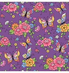 Floral pattern butterflies violet vector
