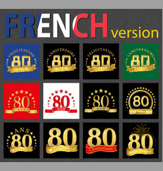 french set of number 80 templates vector image