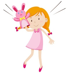 Girl playing with rabbit puppet vector image