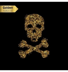 Gold glitter icon of skull and crossbones vector