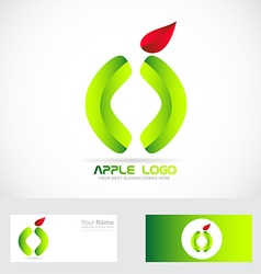 Green apple healthy food logo vector