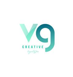green gradient pastel modern vg v g alphabet vector image