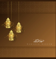 Greeting card ramadan kareem with lantern vector