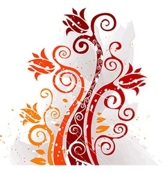 Grunge Autumn Floral Design vector image