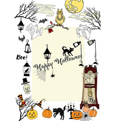 halloween card with hand drawn elements vector image