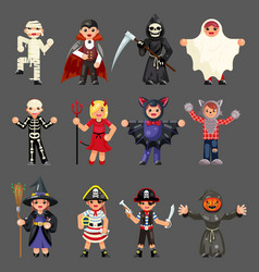 halloween children costume party kids vector image