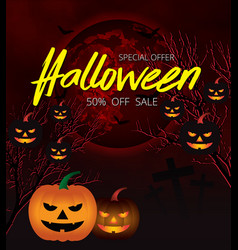 halloween night background with pumpkin blood vector image