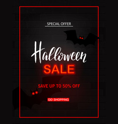 Halloween sale light banner modern neon billboard vector