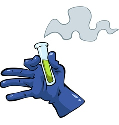 hand with a test tube vector image