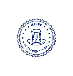 happy presidents day stamp icon uncle sam hat vector image