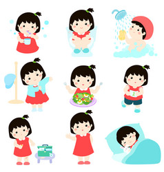 healthy hygiene for girl cartoon vector image