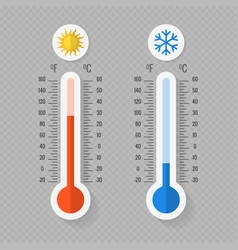 hot and cold meteorology thermometers on vector image