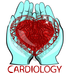 human heart in his hands vector image