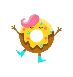 Humanized Doughnut With Yellow Glazing And Pink vector