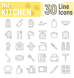 Kitchen thin line icon set household signs vector