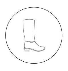 Knee high boots icon in outline style isolated on vector