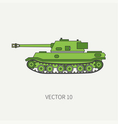 Line flat color icon infantry assault army vector