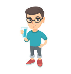 little caucasian boy holding a glass of water vector image