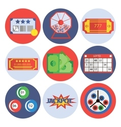 Lottery flat icons set vector image