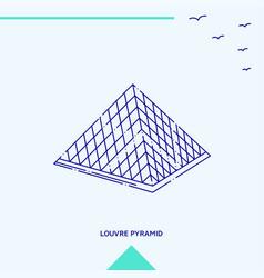 louvre pyramid skyline vector image