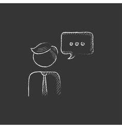 Man with speech square Drawn in chalk icon vector image