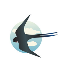 Martlet flying with wide open wings barn swallow vector