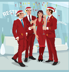 Men and woman in red celebrate new year in office vector