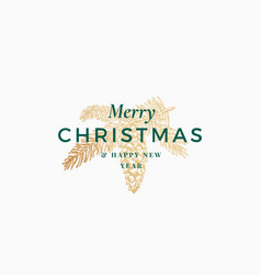 Merry christmas abstract retro label sign vector