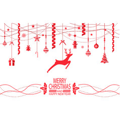 merry christmas and happy new year congratulation vector image