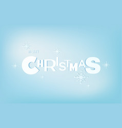 merry christmas lettering typo an snowflake vector image