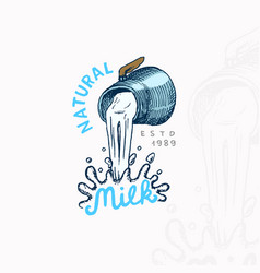 milk is pouring from a jug vintage logo or label vector image
