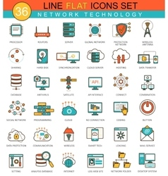Network technology flat line icon set vector