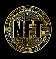 Nft coin gold silhouette vector