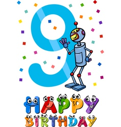 ninth birthday cartoon design vector image