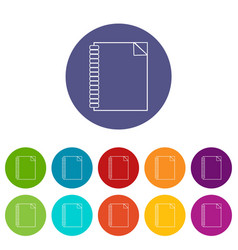 notebook icons set color vector image