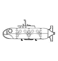 Old submarine pop art vector