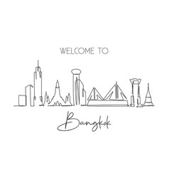 one continuous line drawing bangkok city vector image