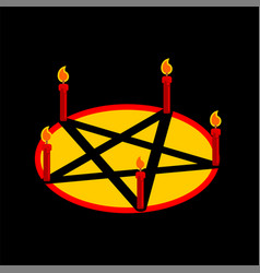 Pentagram devil satan sign ritual symbol call vector