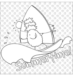 Pineapple windsurfing summertime coloring book vector