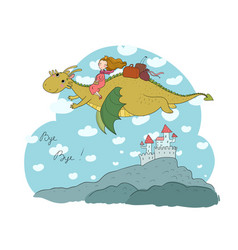 princess is flying on a dragon queen and vector image